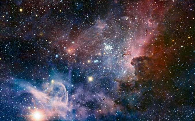 This broad panorama of the Carina Nebula, a region of massive star formation in the southern skies, was taken in infrared light using the HAWK-I camera on ESO's Very Large Telescope. Many previously hidden features, scattered across a spectacular celestial landscape of gas, dust and young stars, have emerged. Picture: ESO/T. Preibisch