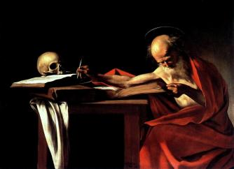 "This picture says it all. We must get back to basics! Painting by Caravaggio - ""Saint Jerome"" Licensed under Public Domain via Wikimedia Commons"