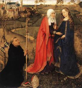 Visitation, from Altarpiece of the Virgin (St Vaast Altarpiece) by Jacques Daret via Wikimedia Commons. Public Domain